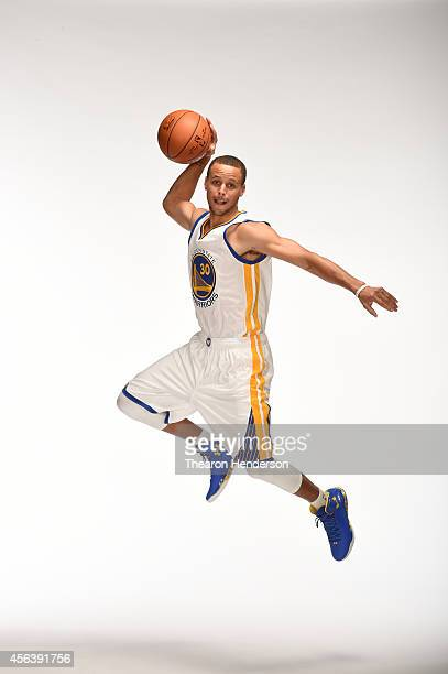 Stephen Curry of the Golden State Warriors poses for media day photos on September 29 2014 at the Warriors practice facility in Oakland California...