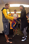 Stephen Curry of the Golden State Warriors poses with Neymar professional soccer player before Game Two of the 2016 NBA Finals against the Cleveland...