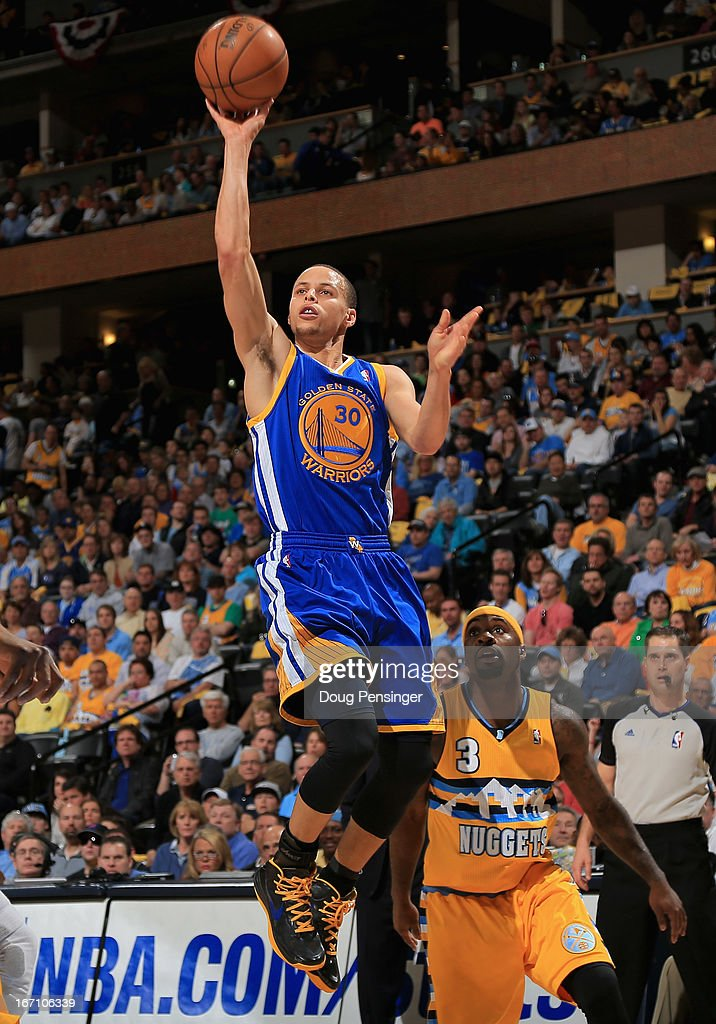 Stephen Curry #30 of the Golden State Warriors puts up a shot against <a gi-track='captionPersonalityLinkClicked' href=/galleries/search?phrase=Ty+Lawson&family=editorial&specificpeople=4024882 ng-click='$event.stopPropagation()'>Ty Lawson</a> #3 of the Denver Nuggets during Game One of the Western Conference Quarterfinals of the 2013 NBA Playoffs at the Pepsi Center on April 20, 2013 in Denver, Colorado.