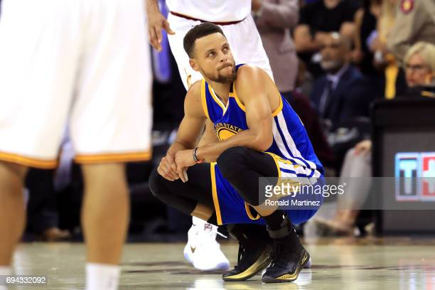 Stephen Curry of the Golden State Warriors reacts after a foul call in the first quarter against the Cleveland Cavaliers in Game 4 of the 2017 NBA...