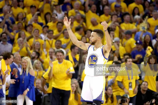 Stephen Curry of the Golden State Warriors reacts after a play against the Cleveland Cavaliers in Game 5 of the 2017 NBA Finals at ORACLE Arena on...