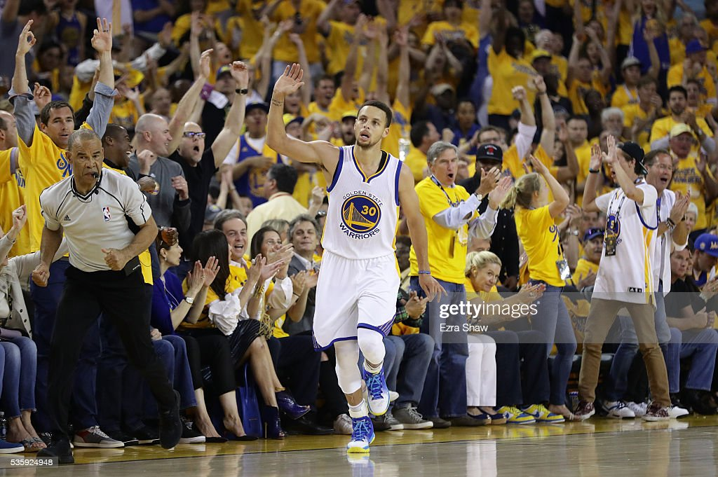 Stephen Curry #30 of the Golden State Warriors reacts after a three-point shot in Game Seven of the Western Conference Finals against the Oklahoma City Thunder during the 2016 NBA Playoffs at ORACLE Arena on May 30, 2016 in Oakland, California.
