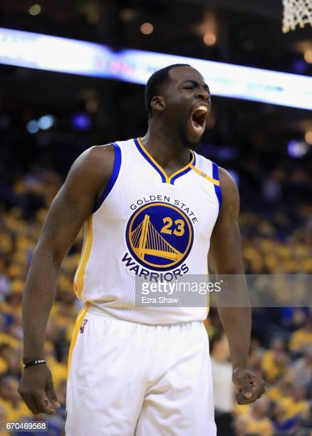 Stephen Curry of the Golden State Warriors reacts after forcing a turnover during their game against the Portland Trail Blazers in Game Two of the...