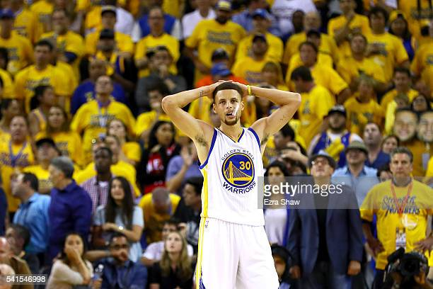 Stephen Curry of the Golden State Warriors reacts after losing 9389 in Game 7 of the 2016 NBA Finals against the Cleveland Cavaliers at ORACLE Arena...