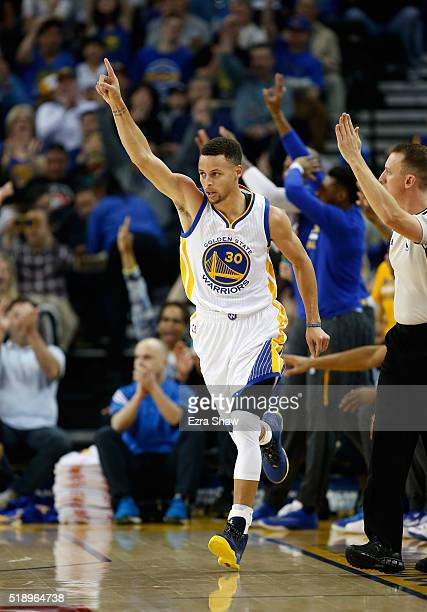 Stephen Curry of the Golden State Warriors reacts after making a basket against the Portland Trail Blazers at ORACLE Arena on April 3 2016 in Oakland...