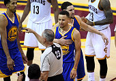 Stephen Curry of the Golden State Warriors reacts as he is ejected from the game during the fourth quarter against the Cleveland Cavaliers in Game 6...
