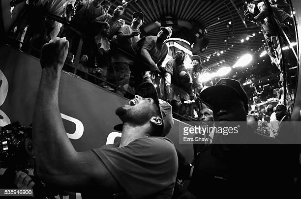 Stephen Curry of the Golden State Warriors reacts as he leaves the court after they beat the Oklahoma City Thunder in Game Seven of the Western...