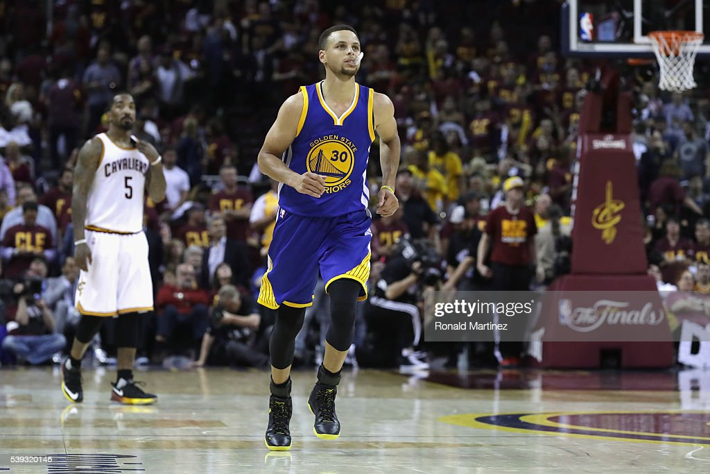 Stephen Curry of the Golden State Warriors reacts at the end of the fourth quarter against the Cleveland Cavaliers in Game 4 of the 2016 NBA Finals...