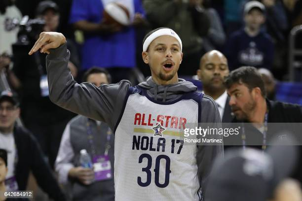 Stephen Curry of the Golden State Warriors reacts during practice for the 2017 NBA AllStar Game at the MercedesBenz Superdome on February 18 2017 in...