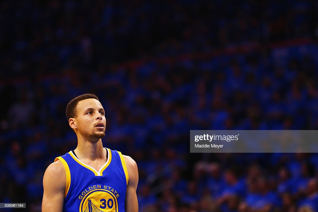 Stephen Curry #30 of the Golden State Warriors reacts during the first half against the Oklahoma City Thunder in game six of the Western Conference Finals during the 2016 NBA Playoffs at Chesapeake Energy Arena on May 28, 2016 in Oklahoma City, Oklahoma.