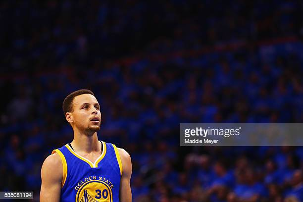 Stephen Curry of the Golden State Warriors reacts during the first half against the Oklahoma City Thunder in game six of the Western Conference...