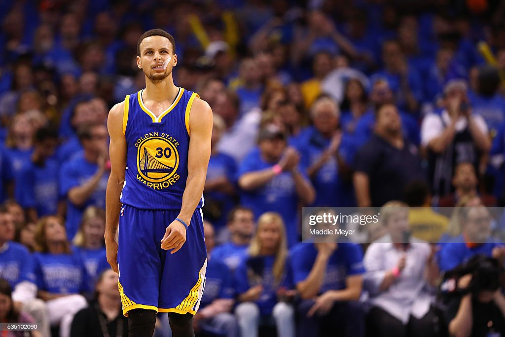 Stephen Curry #30 of the Golden State Warriors reacts during the fourth quarter against the Oklahoma City Thunder in game six of the Western Conference Finals during the 2016 NBA Playoffs at Chesapeake Energy Arena on May 28, 2016 in Oklahoma City, Oklahoma.