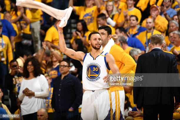 Stephen Curry of the Golden State Warriors reacts during the game against the Portland Trail Blazers during the Western Conference Quarterfinals of...