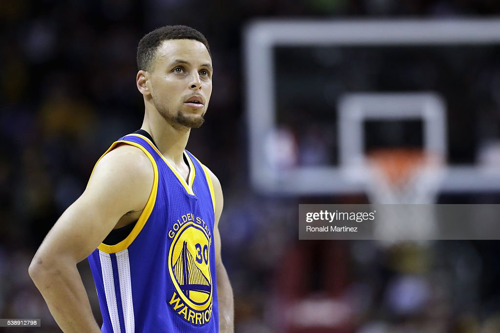 Stephen Curry of the Golden State Warriors reacts during the second half against the Cleveland Cavaliers in Game 3 of the 2016 NBA Finals at Quicken...