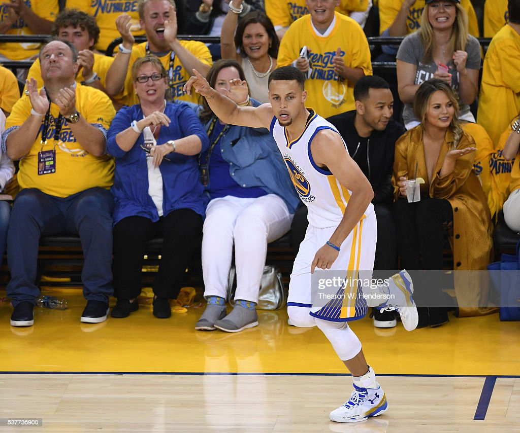 Stephen Curry #30 of the Golden State Warriors reacts in the first half while taking on the Cleveland Cavaliers in Game 1 of the 2016 NBA Finals at ORACLE Arena on June 2, 2016 in Oakland, California.