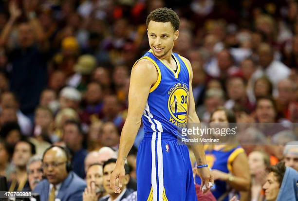 Stephen Curry of the Golden State Warriors reacts in the first quarter against the Cleveland Cavaliers during Game Four of the 2015 NBA Finals at...