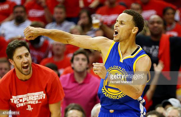 Stephen Curry of the Golden State Warriors reacts in the third quarter against the Houston Rockets during Game Three of the Western Conference Finals...
