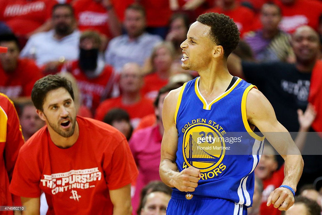 Stephen Curry #30 of the Golden State Warriors reacts in the third quarter against the Houston Rockets during Game Three of the Western Conference Finals of the 2015 NBA PLayoffs at Toyota Center on May 23, 2015 in Houston, Texas.