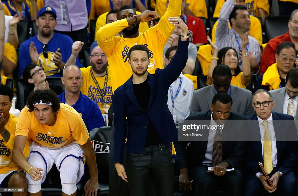 Stephen Curry #30 of the Golden State Warriors reacts on the bench during the second quarter of their game against the Portland Trail Blazers during Game One of the Western Conference Semifinals for the 2016 NBA Playoffs at ORACLE Arena on May 01, 2016 in Oakland, California.