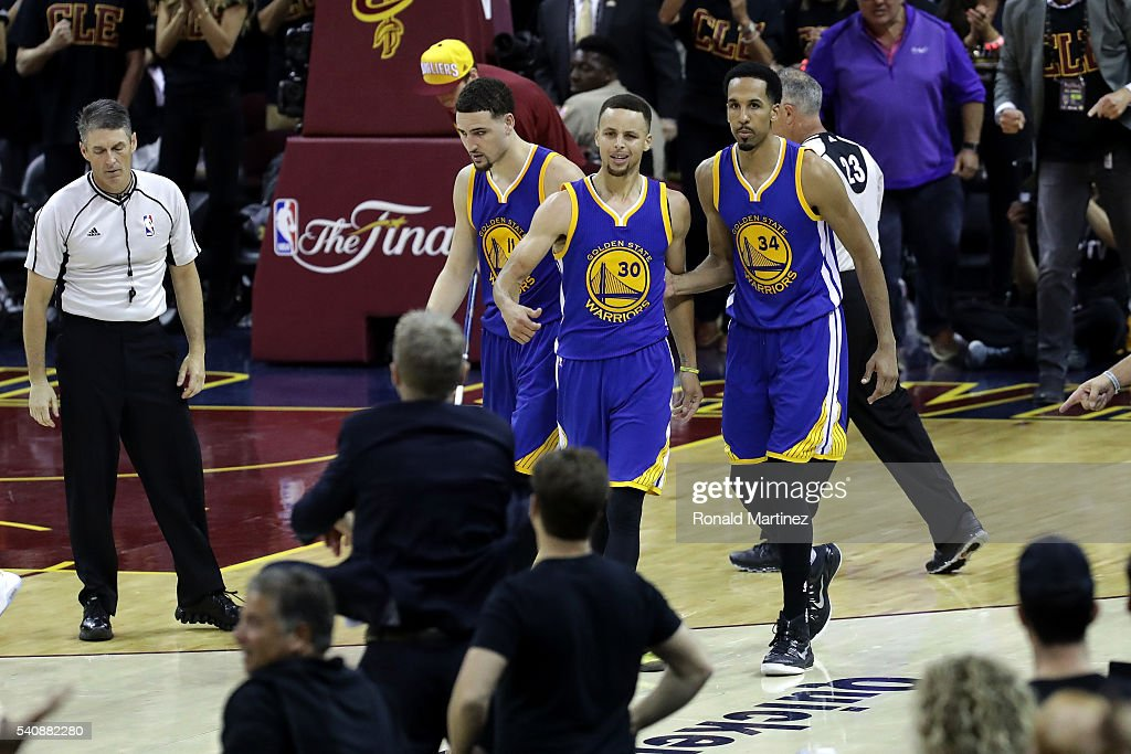 Stephen Curry of the Golden State Warriors reacts to a foul call during the fourth quarter against the Cleveland Cavaliers in Game 6 of the 2016 NBA...