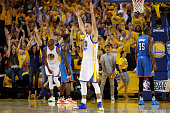 Stephen Curry of the Golden State Warriors reacts to a shot against the Oklahoma City Thunder during game two of the Western Conference Finals during...
