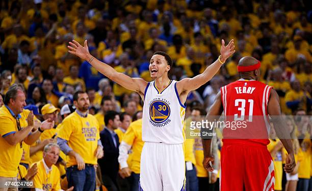 Stephen Curry of the Golden State Warriors reacts to being called for a foul in the fourth quarter against the Houston Rockets during Game One of the...