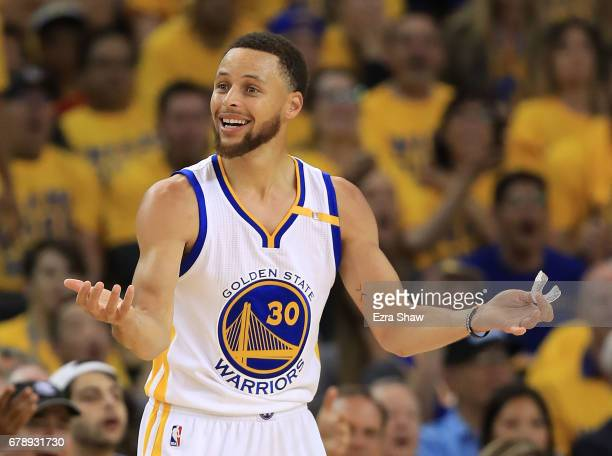 Stephen Curry of the Golden State Warriors reacts to the referees after he drew a foul against the Utah Jazz during Game Two of the NBA Western...