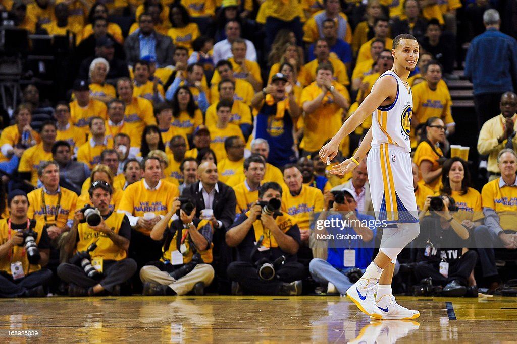 Stephen Curry #30 of the Golden State Warriors reacts while playing the San Antonio Spurs in Game Six of the Western Conference Semifinals during the 2013 NBA Playoffs on May 16, 2013 at Oracle Arena in Oakland, California.