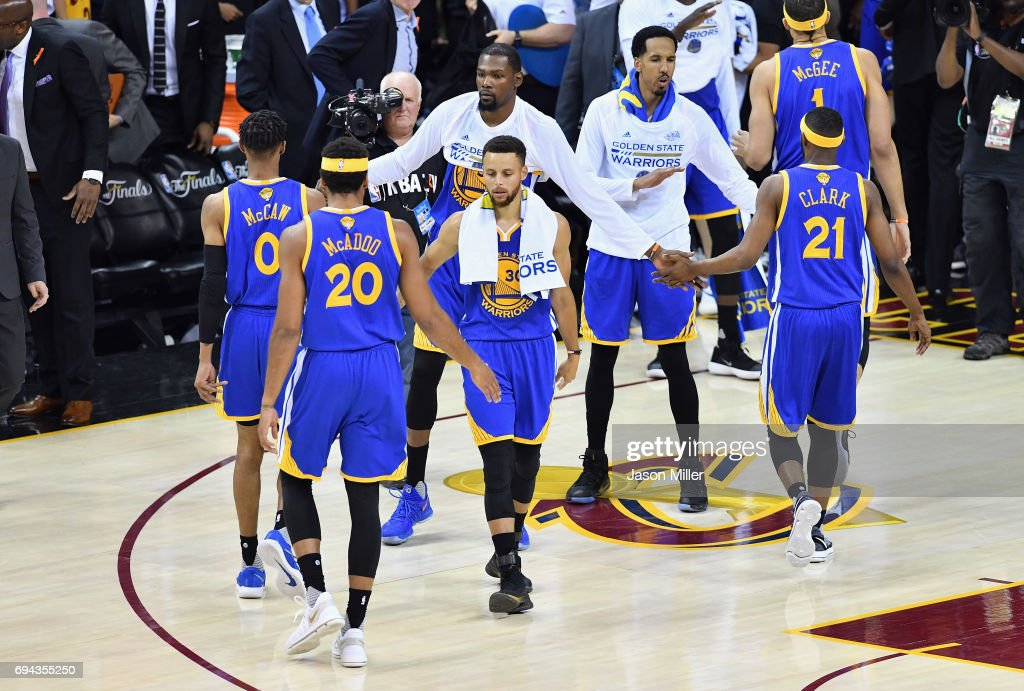 Stephen Curry #30 of the Golden State Warriors reacts with teammates after being defeated by the Cleveland Cavaliers in Game 4 of the 2017 NBA Finals at Quicken Loans Arena on June 9, 2017 in Cleveland, Ohio.