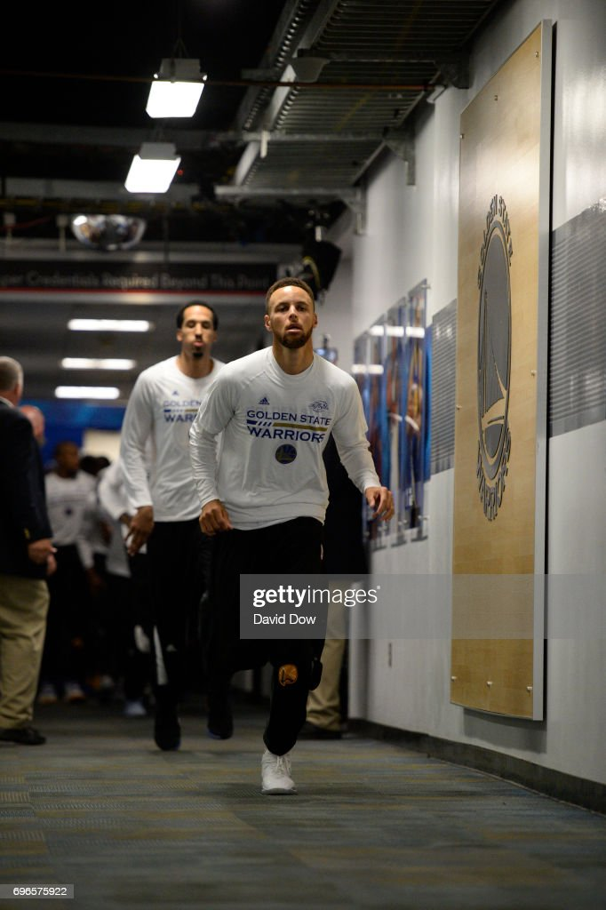 Stephen Curry #30 of the Golden State Warriors runs to the court before Game Five of the 2017 NBA Finals against the Cleveland Cavaliers on June 12, 2017 at ORACLE Arena in Oakland, California.