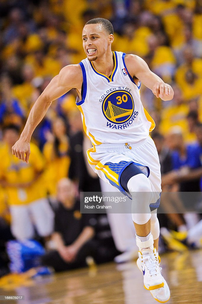 Stephen Curry #30 of the Golden State Warriors runs up court after scoring against the San Antonio Spurs in Game Six of the Western Conference Semifinals during the 2013 NBA Playoffs on May 16, 2013 at Oracle Arena in Oakland, California.