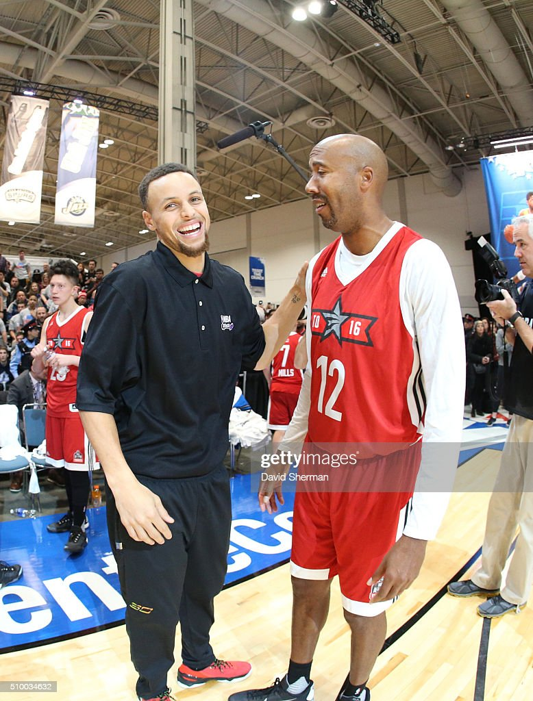 Stephen Curry of the Golden State Warriors shares a laugh with Bruce Bowen during the NBA Cares Special Olympics Unified Game as part of 2016 All-Star Weekend at the Enercare Centre on February 13, 2016 in Toronto, Ontario, Canada.