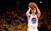 Stephen Curry of the Golden State Warriors shoots a free throw against Houston Rockets in the third quarter during Game One of the Western Conference...