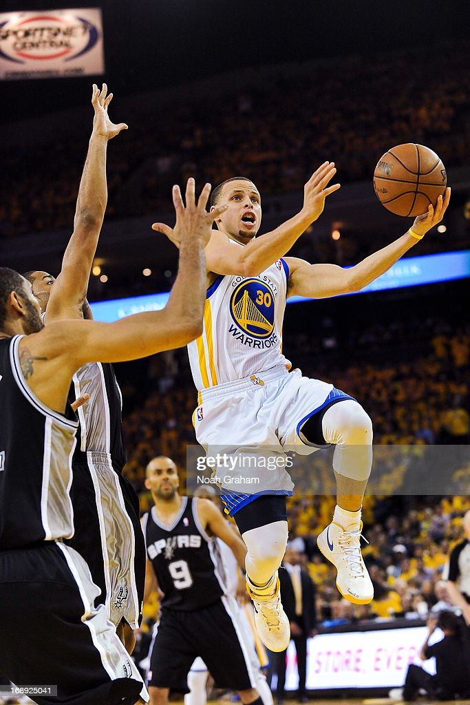 Stephen Curry #30 of the Golden State Warriors shoots a layup against the San Antonio Spurs in Game Six of the Western Conference Semifinals during the 2013 NBA Playoffs on May 16, 2013 at Oracle Arena in Oakland, California.