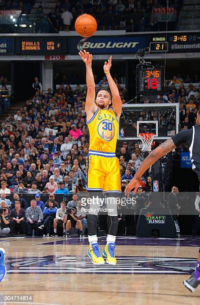 Stephen Curry of the Golden State Warriors shoots a three pointer against the Sacramento Kings on January 9 2016 at Sleep Train Arena in Sacramento...