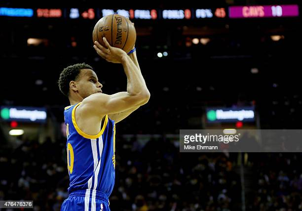 Stephen Curry of the Golden State Warriors shoots against the Cleveland Cavaliers in the first quarter during Game Three of the 2015 NBA Finals at...