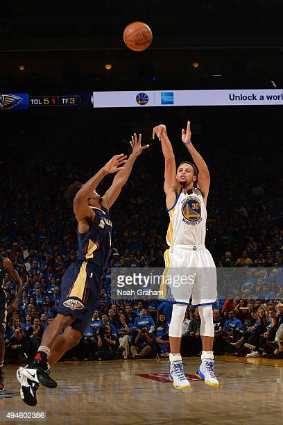 Stephen Curry of the Golden State Warriors shoots against the New Orleans Pelicans on October 27 2015 at Oracle Arena in Oakland California NOTE TO...