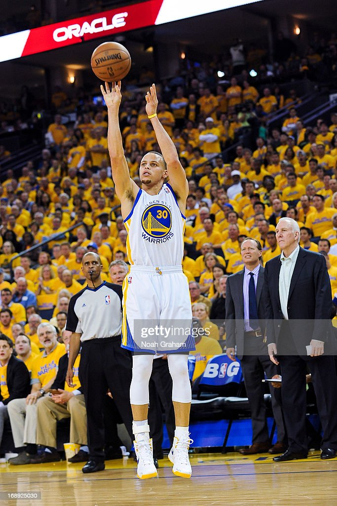 Stephen Curry #30 of the Golden State Warriors shoots against the San Antonio Spurs in Game Six of the Western Conference Semifinals during the 2013 NBA Playoffs on May 16, 2013 at Oracle Arena in Oakland, California.