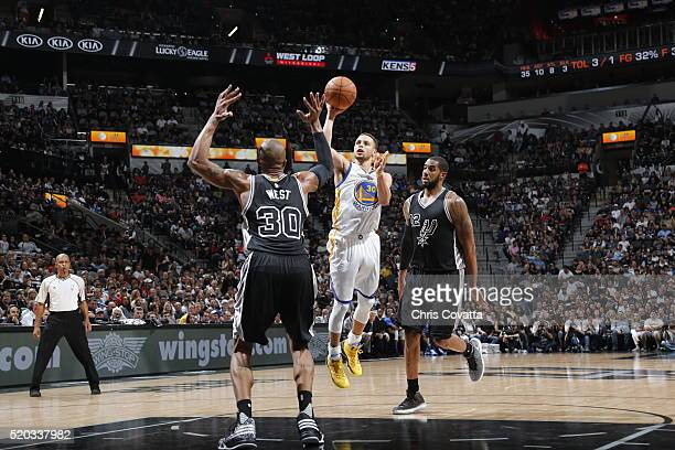 Stephen Curry of the Golden State Warriors shoots against the San Antonio Spurs on April 10 2016 at the ATT Center in San Antonio Texas NOTE TO USER...