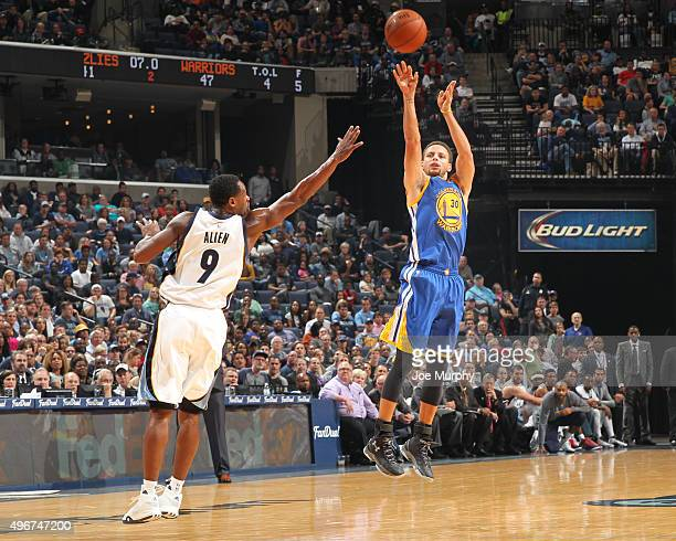 Stephen Curry of the Golden State Warriors shoots against Tony Allen of the Memphis Grizzlies during the game on November 11 2015 at FedExForum in...