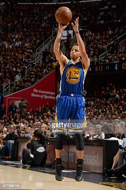 Stephen Curry of the Golden State Warriors shoots during Game Six of the 2015 NBA Finals at The Quicken Loans Arena on June 16 2015 in Cleveland Ohio...