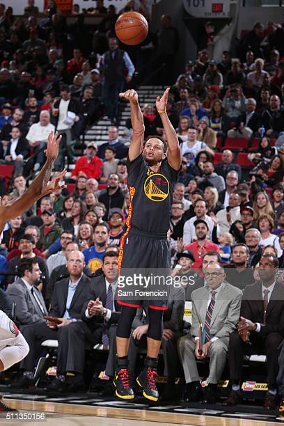 Stephen Curry of the Golden State Warriors shoots the ball against the Portland Trail Blazers on February 19 2016 at the Moda Center in Portland...