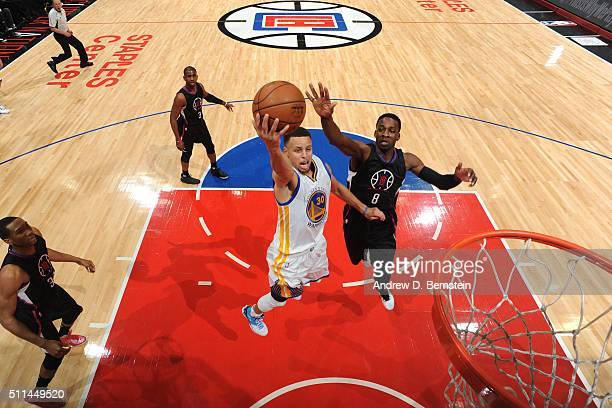 Stephen Curry of the Golden State Warriors shoots the ball against the Los Angeles Clippers on February 20 2016 at STAPLES Center in Los Angeles...
