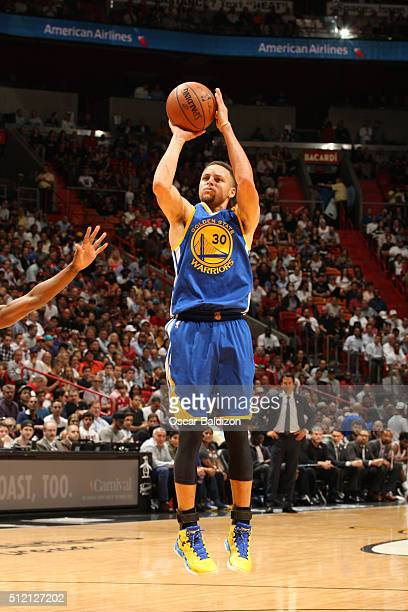 Stephen Curry of the Golden State Warriors shoots the ball against the Miami Heat on February 24 2016 at American Airlines Arena in Miami Florida...