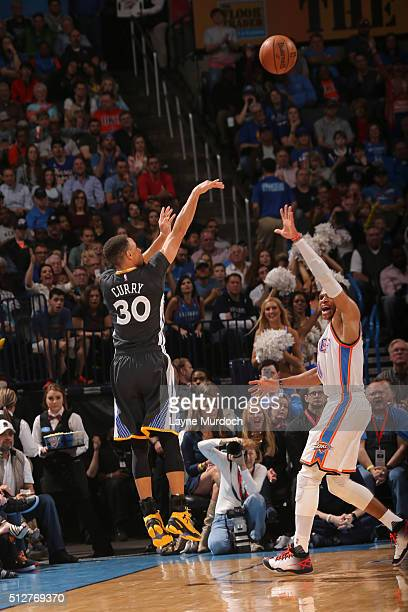 Stephen Curry of the Golden State Warriors shoots the ball against the Oklahoma City Thunder on February 27 2016 at the Chesapeake Energy Arena in...