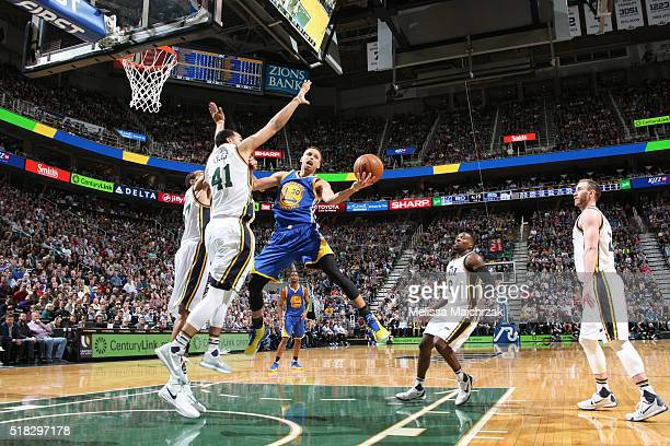 Stephen Curry of the Golden State Warriors shoots the ball against the Utah Jazz on March 30 2016 at vivintSmartHome Arena in Salt Lake City Utah...