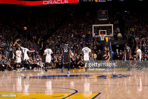 Stephen Curry of the Golden State Warriors shoots the ball against the Brooklyn Nets on February 25 2017 at ORACLE Arena in Oakland California NOTE...