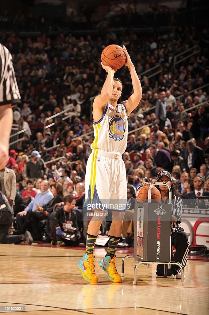 Stephen Curry #30 of the Golden State Warriors shoots the ball during the 2013 Foot Locker Three-Point Contest on State Farm All-Star Saturday Night as part of 2013 NBA All-Star Weekend on February 16, 2013 at Toyota Center in Houston, Texas.