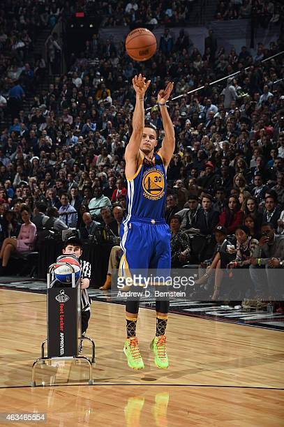 Stephen Curry of the Golden State Warriors shoots the ball during the Foot Locker Three Point Contest on State Farm AllStar Saturday Night as part of...