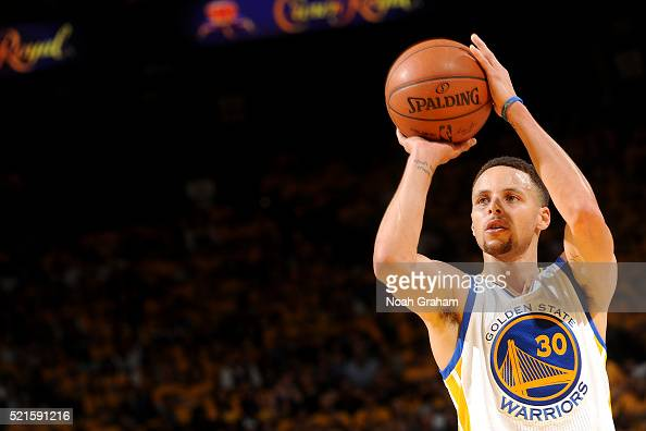 Stephen Curry of the Golden State Warriors shoots the ball during the game against the Houston Rockets in Game One of the Western Conference...